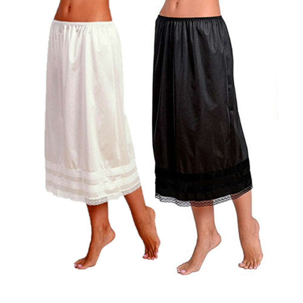 2019 Fashion Women's Elastic Waist Slip Ladies Womens Lace Long Skirt Underskirt Petticoat Extender Gonne White Skirts L-3XL