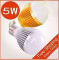 10PCS/lot.  3W , 5w , 7w 100-240V Golden/Silver Led Globe Bulb E27 Lamp Energy Saving, free shipping
