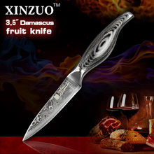 3.5″ inches paring knife kitchen knife VG-10 Damascus steel kitchen knives  fruit knife with wood steel handle FOR FREE SHIPPING