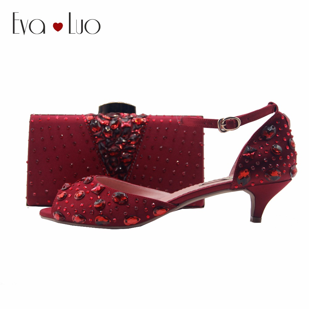 BS900 DHL Custom Made Low Heel Winered Burgundy Crystal Shoes With Matching Bag Set Women Shoes