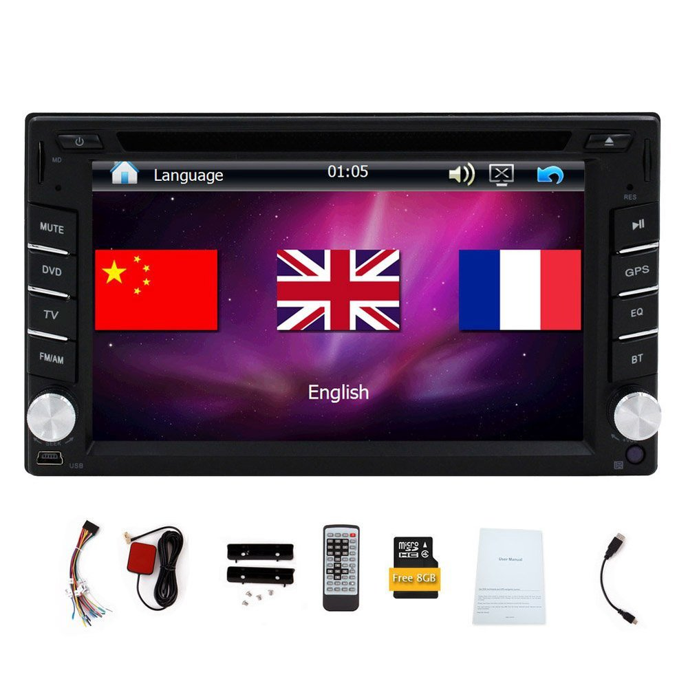 Free Map Card+Double 2 Din Car Radio DVD Player Car Video In Dash Car Stereo 6.2 Touch Screen Universal GPS Headunit Bluetooth joyous j 2611mx 7 touch screen double din car dvd player w gps ipod bluetooth fm am radio rds