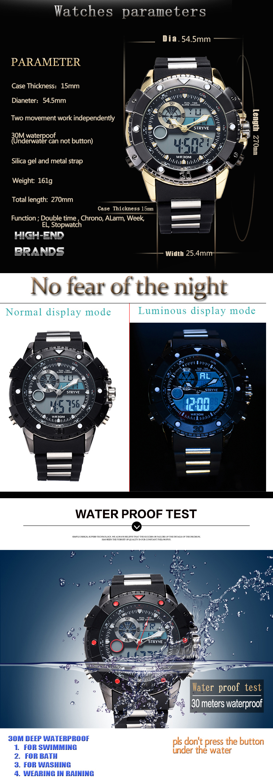 luxo led relógio analógico militar grande dial