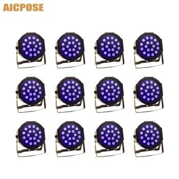12 pz/lotto 3w led branelli della lampada 18x3w UV LED Par Luce Della Fase par piatto led dmx512 luci da discoteca professionale fase attrezzature dj