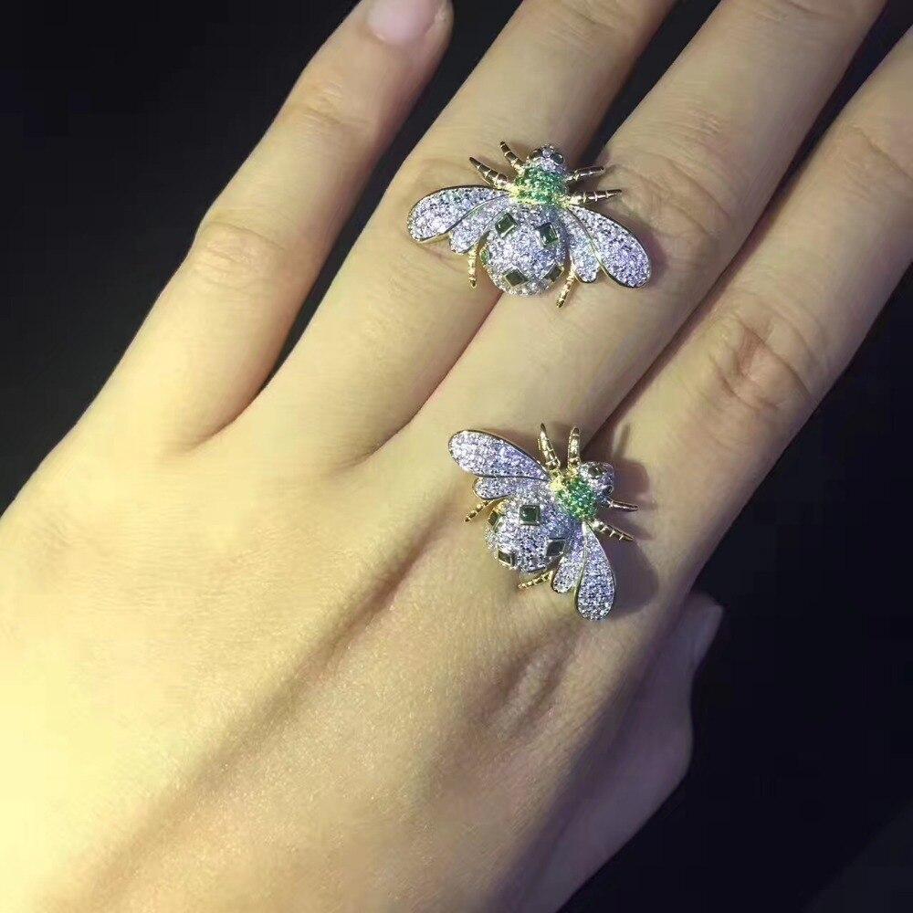 925 argent sterling avec zircon cubique abeille stud boucle d'oreille mode femmes bijoux livraison gratuite - 5