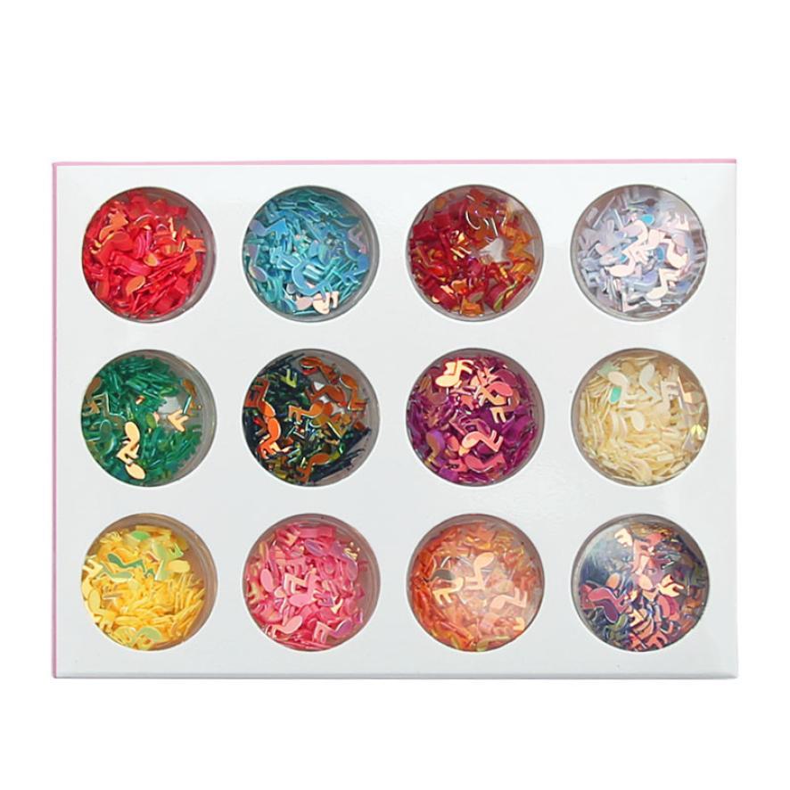 12pcs Nail Glitter Note Nail Strips Women Phototherapy Nail Sequins P30 June2