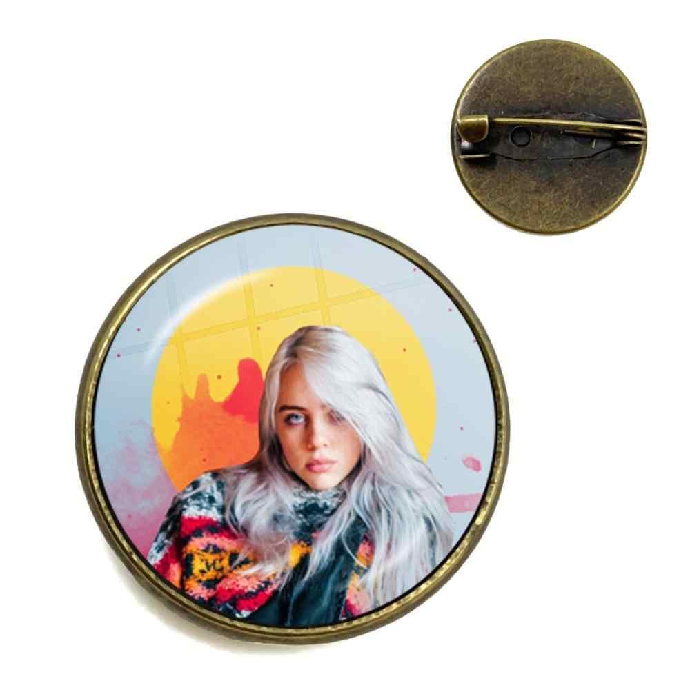 Broche de Metal Punk cabujón de cristal hecho a mano de la cantante de hip-hop Harajuku