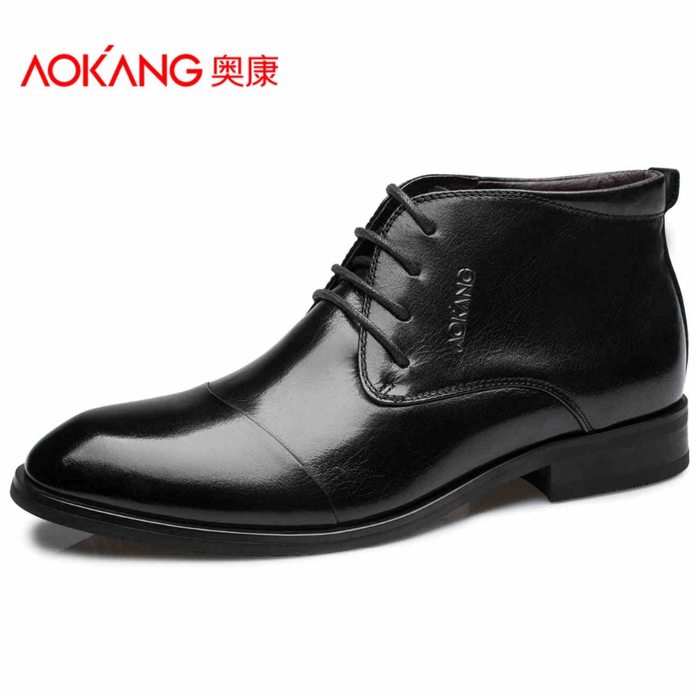 Aokang 2016 Winter men's boots genuin leather male shoes fashion black shoes Shoes lace up ankel top quality shoes for men