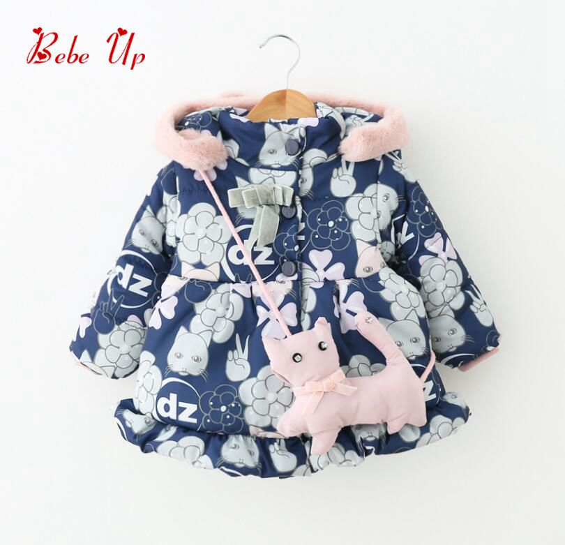 Kids Winter Jacket With Cat Floral Print Baby Girl Winter Clothes Lovely Lolita Toddle Padded Coat With Fur Hood Girls Outerwear