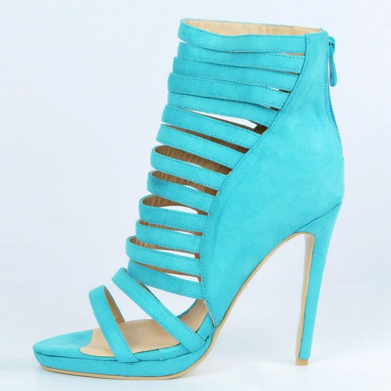 Sky Blue High Heels Women Sandal Gladiator Style Summer Shoes Women Platform Open Toe Thin Straps Stilettos Heel Plus Size фигурки blue sky фигурка северный олень