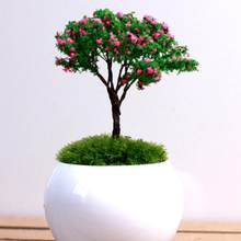 Micro Mini Artificial Lamb Cherry Trees Willows Figures Crafts DIY Decoration Tree Miniatures Fairy Garden Landscape Potted Lawn(China)