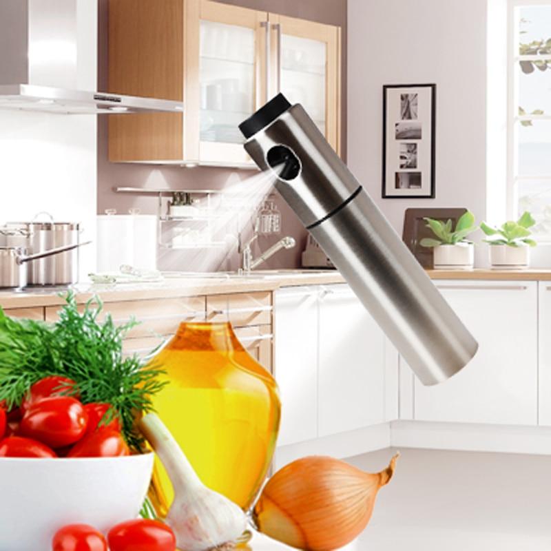 1 шт. нержавеющая сталь Оливковое насос распыления масла бутылки опрыскиватель может Нефть jar горшок инструмент может банк посуда кухонные инструменты