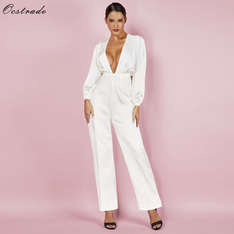 Ocstrade White Satin Wide Sleeve Jumpsuit