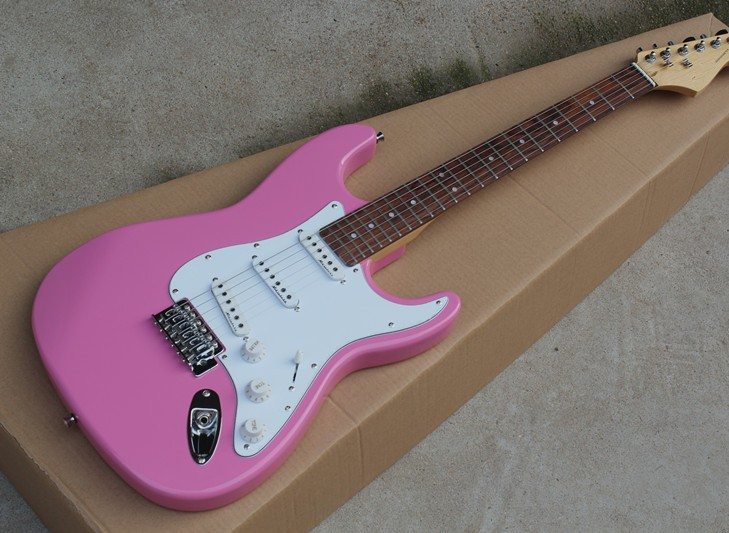 Factory store customized pink electric guitar, white shield, SSS pickup, customizable, free delivery Factory store customized pink electric guitar, white shield, SSS pickup, customizable, free delivery