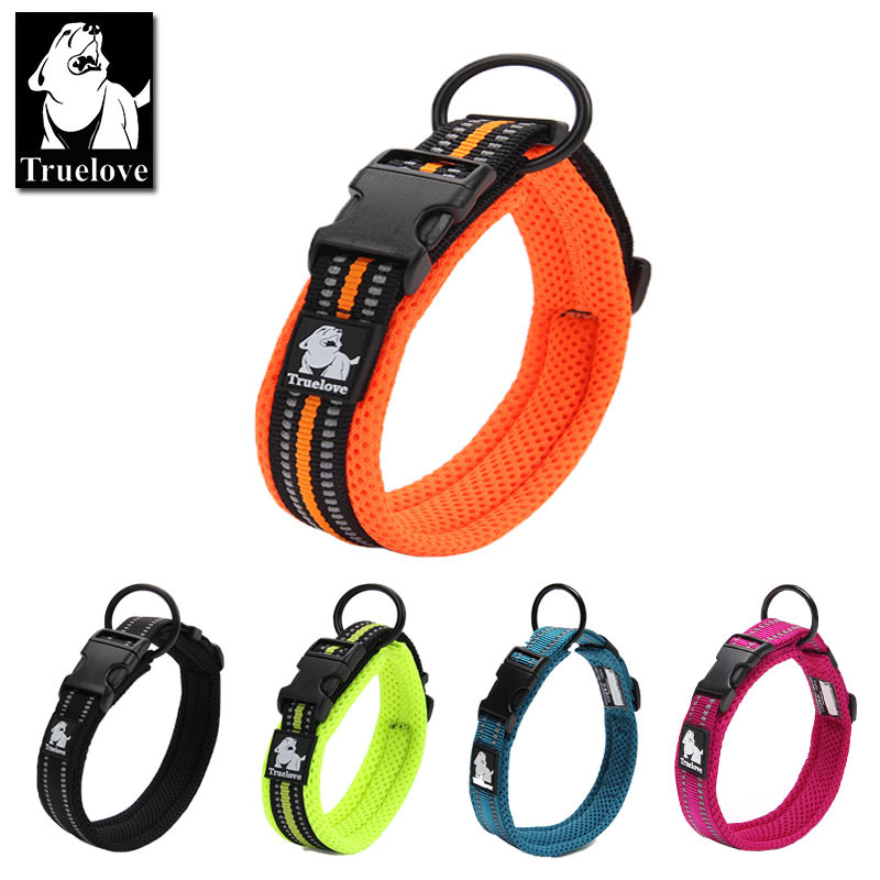 Truelove Justerbar Mesh Padded Pet Dog Collar 3M Reflekterende Nylon Dog Collar Holdbar Heavy Duty for alle yngle alt vejr 8size