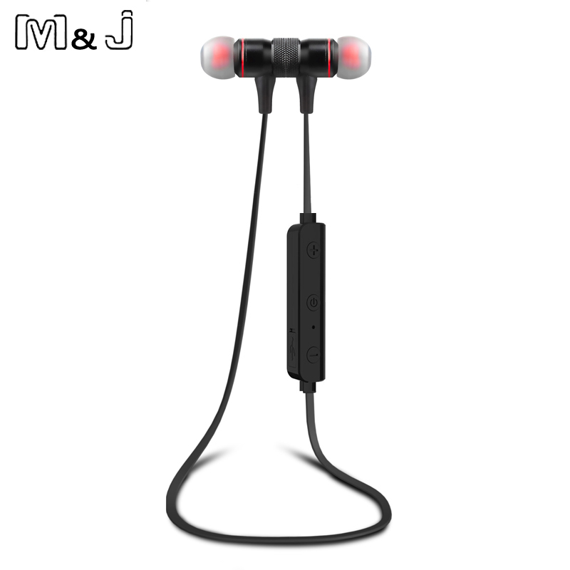M&J M9 Sport Running Magnetic Bluetooth Wireless Earphones V4.1 In-Ear Noise Reduction Earbuds With Microphone Sweatproof Stereo