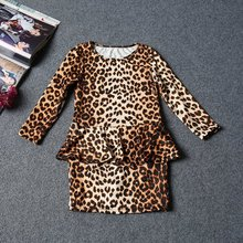 Fashion 3-10Y Children Baby Girls Leopard Printed Mini Short Dress Kids Party Casaul Cloth Girls Cloth(China)