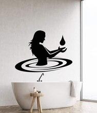 Vinyl wall sticker bathroom decoration nude girl water drop sticker, home bathroom, hotel fashion  YS07