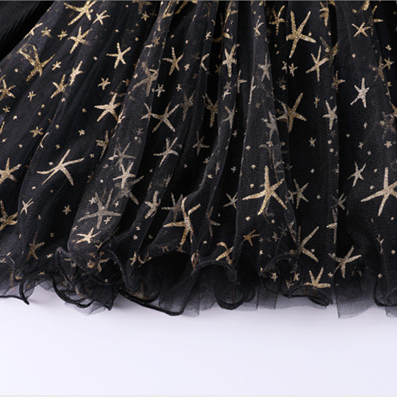 DFXD 2018 Autumn Children Outfits England Style Teen Girls Long Petal Sleeve Knitted Lace Bronzing Stars Spliced Princess Dress 5