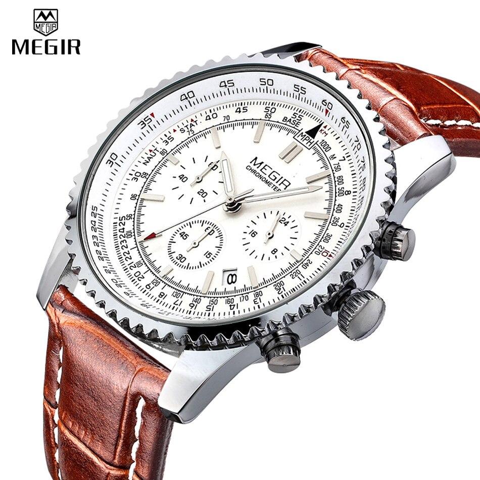 MEGIR Chronograph 24 Hours Luxury Brand Watch Full Steel Analog Display Quartz Men Business Waterproof Watches