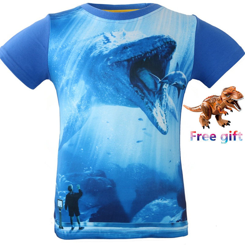 3-8 Years Old Jurassic World dinosaur Children Kids Shorts Tops Tees T Shirt Fille Summer Ninjago Boys Dragon T-Shirt For boy new hot sale 2016 korean style boy autumn and spring baby boy short sleeve t shirt children fashion tees t shirt ages