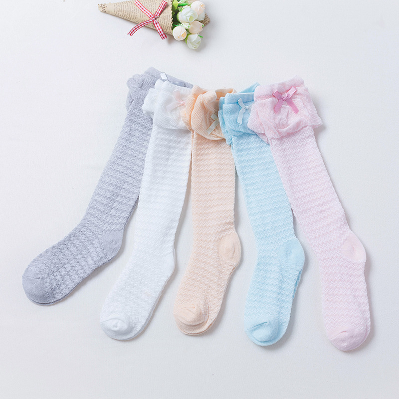 Baby Girls Bow Lace Summer New Thin Mesh Childrens Socks Breathable Cotton Baby Socks Girls Knee Baby Socks