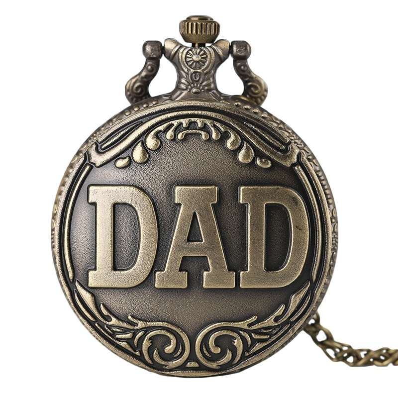 Antique DAD Pocket Watch Pendant Necklace Bronze Steampunk Mens Pappy Father's Day Gift Present