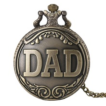 Antique DAD Pocket Watch Pendant Necklace Bronze Steampunk Mens Pappy Fathers Day Gift Present