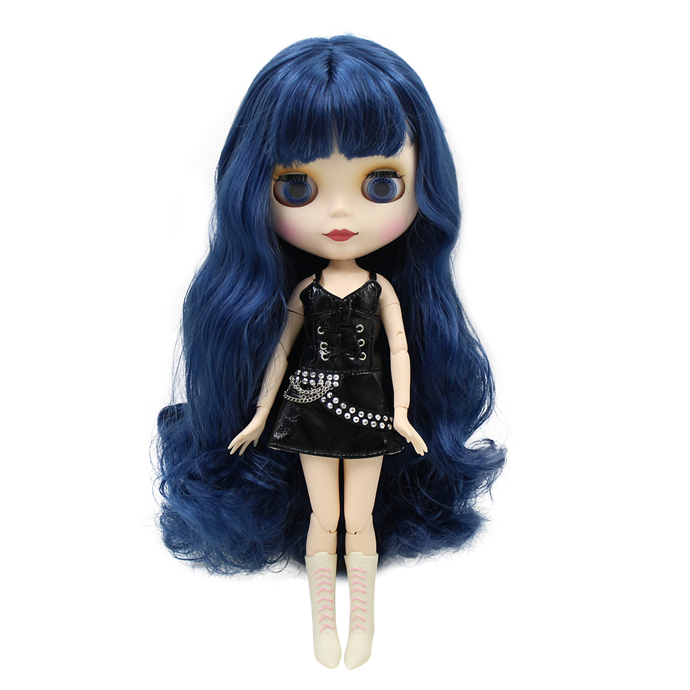 factory blyth doll bjd 280BL6221 with bangs fringes matte frosted face Joint body long blue hair