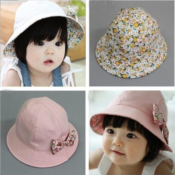 Kids Newborn Baby Infant Lace Floral Bowknot Flower Bonnet Hats Sun Hat  Bucket 8edd266f9a8c
