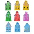 New 9 Types Child Kids Student Cartoon Thick Type Raincoat Girls Boys Fashionable PVC Waterproof Rainwear With Schoolbag Cover