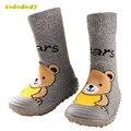 2 Unids/lote Niños Niño Zapatos de Suela de Goma Calcetines hasta la Rodilla de Algodón de Alta Zapatos Del Calcetín Del Bebé Recién Nacido Antideslizante Calcetines de Bebé M