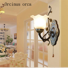 European iron simple rural bedside wall corridor bedroom living room dining creative American lamp single head