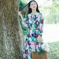 Де Голубь 2016 Hitz литературный ретро цветочный принт лук плюс размер женщин платья повязки свободно фонарь рукав хлопка femme платья