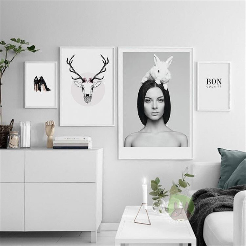 Character Canvas Art Elk Scenery For Bedroom,Nordic