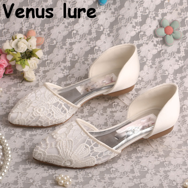 Comfortable Court Shoes for Women Wedding Pointed Toe Ballet Bridal Flat LaceComfortable Court Shoes for Women Wedding Pointed Toe Ballet Bridal Flat Lace