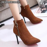 Female High heeled Boots Autumn Winter 2017 New Fashion All match With Fine Pointed Martin Children Sexy.