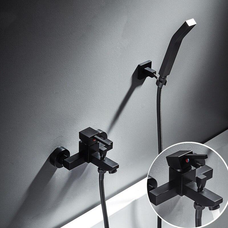 Brass Black Shower Set Bathroom Faucet Wall Rainfall Shower Head Mixer with Handheld Spray Set Single Handle Shower SystemBrass Black Shower Set Bathroom Faucet Wall Rainfall Shower Head Mixer with Handheld Spray Set Single Handle Shower System