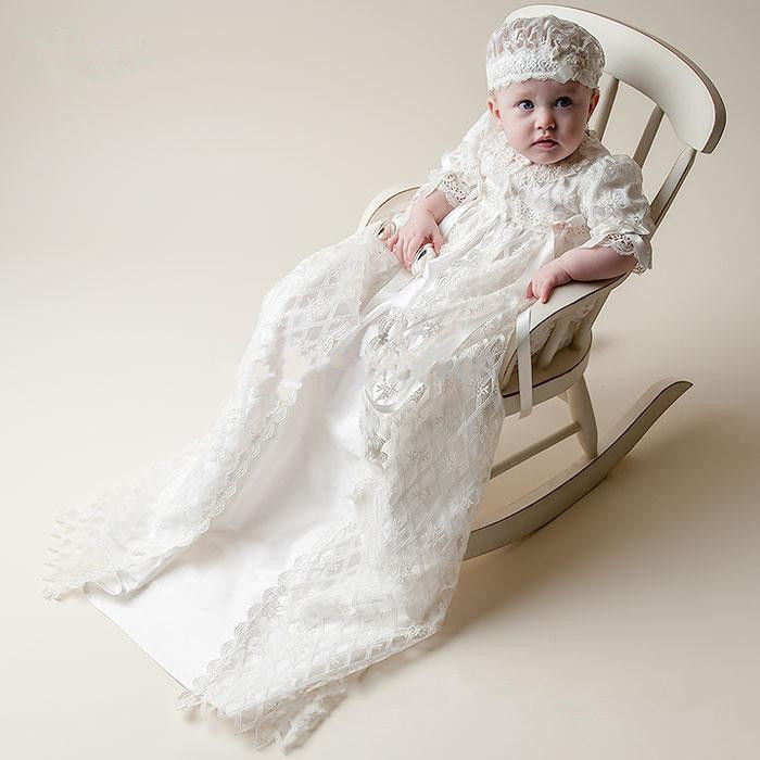 2016 New Baby Infant Christening Dress Boys Girls Baptism Gown Lace Applique Without Bonnet