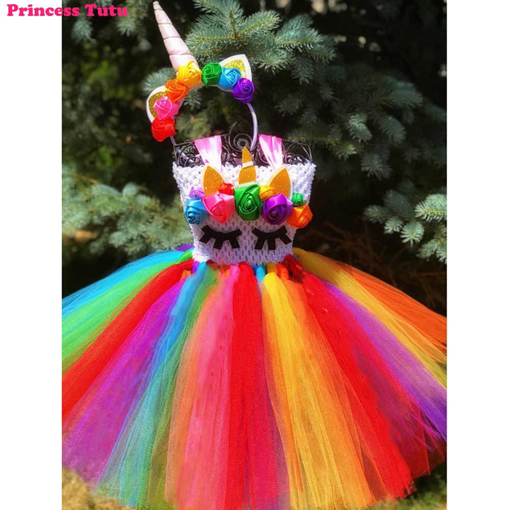 52f01e7b504fa Rainbow Unicorn Tutu Dress Colorful Pastel Kids Girls Flowers Birthday  Party Dresses with Headband Christmas New Year Costume