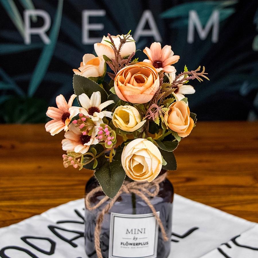 autumn fake tea rose silk flower fall Gerbera Daisy artificial plastic flower for wedding home accessories decoration room decor 1
