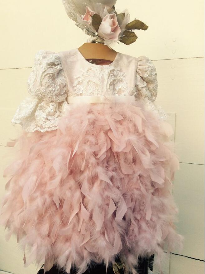 Ball gown Baby Girls blush pink feather Blessing Dresses with sleeves Heirloom Dedication lace beaded Christening baptism gowns