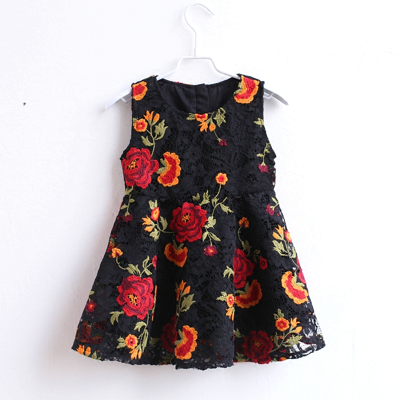 Summer mom kids girls rose embroidery lace sleeveless birthday party sundress family look clothes mother daughter black dresses sexy black v neck rose embroidery sleeveless cami