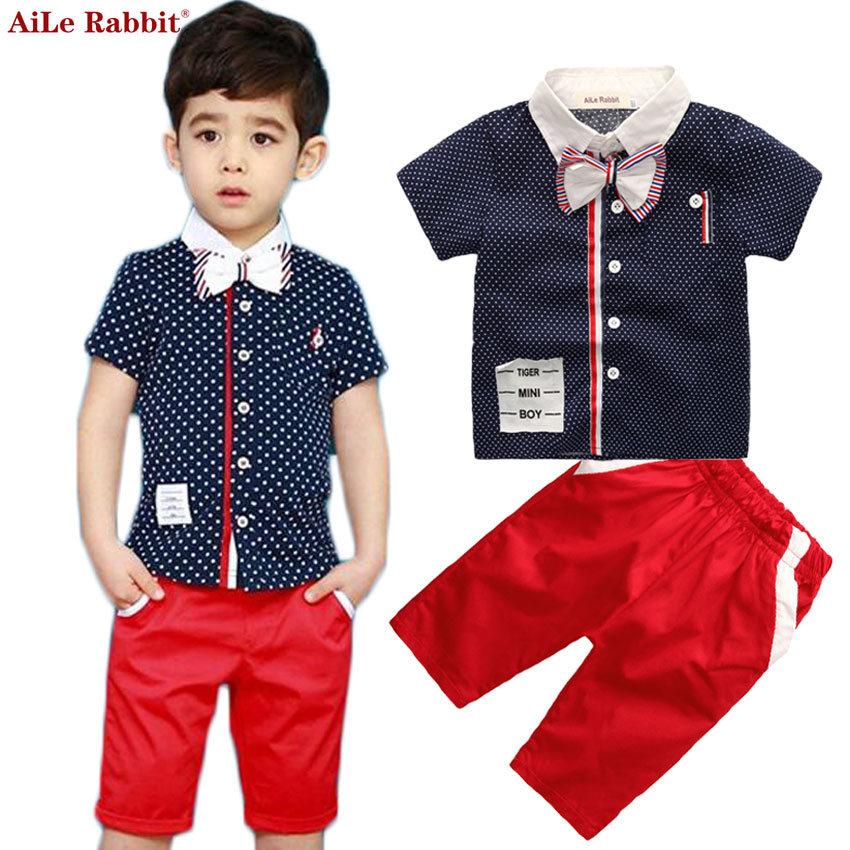 AiLe Rabbit 2017 Boy Clothing Set Shirt + Pants 2pcs Set of Gentleman Bow Suit Boy Kids Short Sleeve Leisure Sports Clothes new 2018 spring fashion baby boy clothes gentleman suit short sleeve stitching plaid vest and tie t shirt pants clothing set