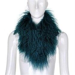 New arrival lady genuine natural tibet lamb fur scarf mongolian lamb fur muffler fashion large collar
