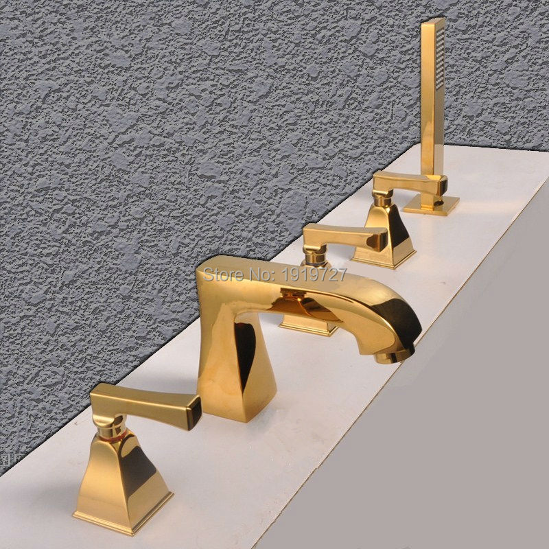 Brass Golden Waterfall Bathroom Bathtub Mixer Faucets Tap With Handshower 5Pcs