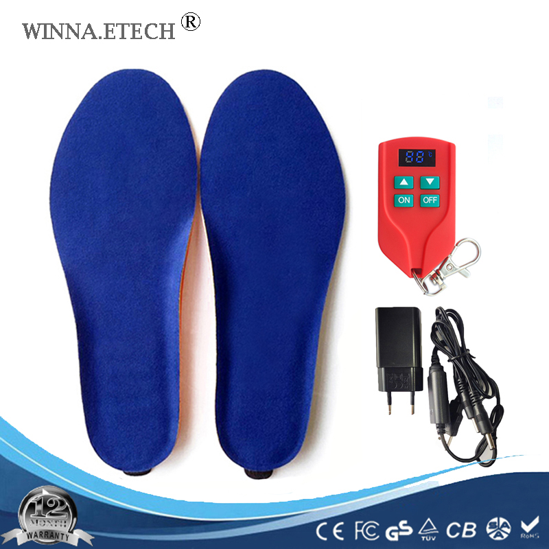Nuovo 2000 mah Wireless Riscaldamento Sottopiede Inverno Caldo Scarpe Solette Batteria del Telecomando di Ricarica Riscaldata Solette Formato EUR 35- 46 #