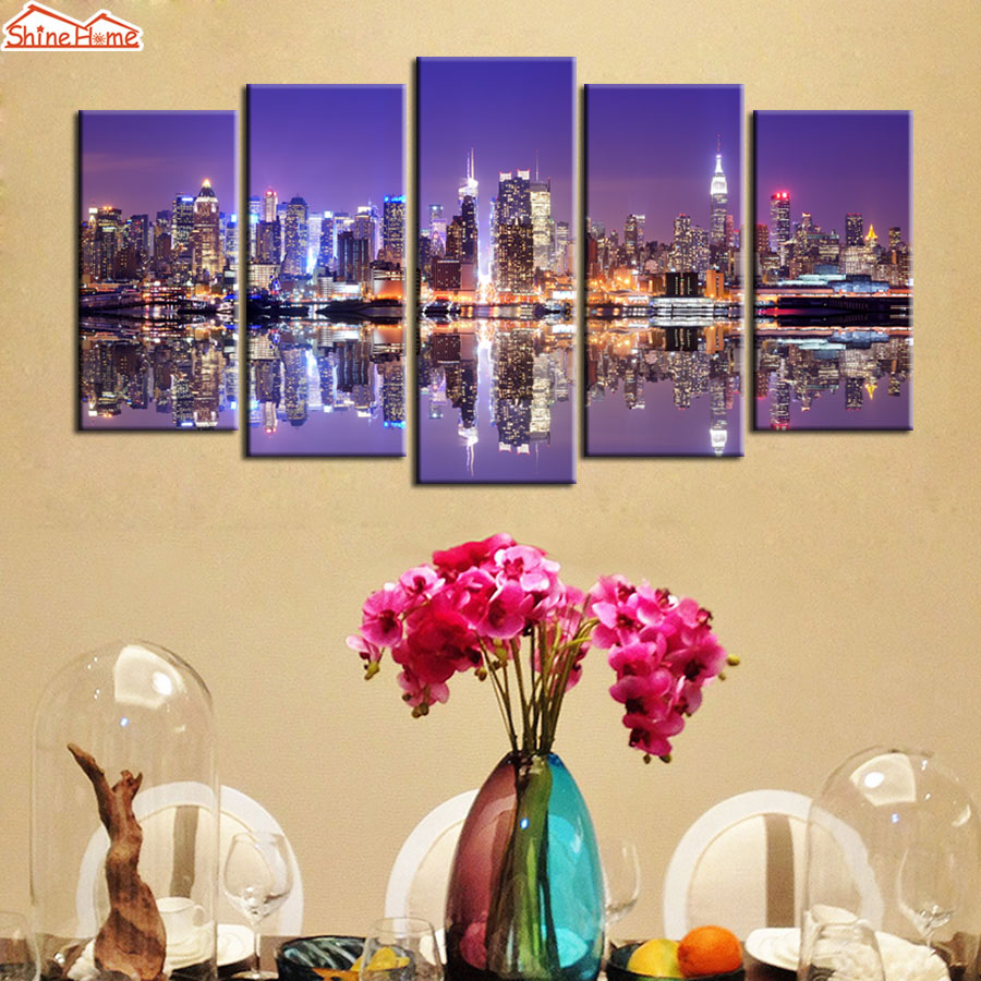 ShineHome 5pcs Wall Art Canvas Prints New York City Manhattan Night ...