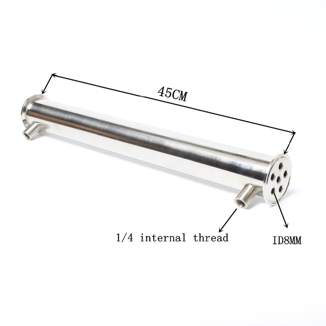 """2"""" OD64 Dephlegmator/ Condenser/ Reflux  Length 450mm, 6pipes ID8mm Stainless steel 304 condenser"""