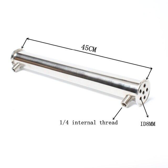 """2 """"OD64 Dephlegmator/kondenser/reflü uzunluk 450mm, 6 boru ID8mm paslanmaz çelik 304 kondenser"""