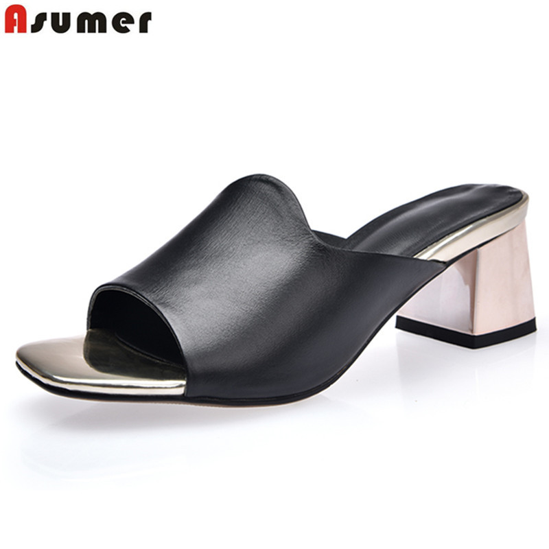 ASUMER Plus size 34-42 New genuine leather shoes women sandals open toe square high heels slingback summer dress shoes femaleASUMER Plus size 34-42 New genuine leather shoes women sandals open toe square high heels slingback summer dress shoes female
